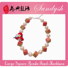 Joyas infantiles especiales hechas a mano Big Pearl Square Chunky Bead Children Jewelry
