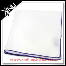 White Solid Blue Purple Contrasting Edge Big Handkerchief