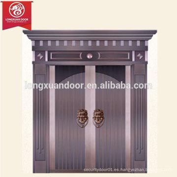 Casa comercial o residencial Puerta de bronce, diseño moderno simple Puerta cubierta de cobre de doble hoja de cobre