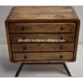 Art Deco Modern Mango Wood Drawer Cabinet Iron Legs