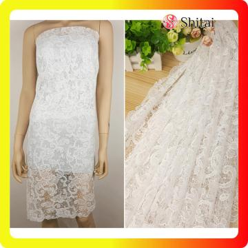 Embroidered and lace fabric for lady dress