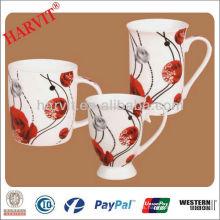 Taza de café de cerámica impresa flor