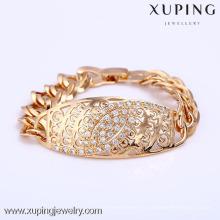 71996 Xuping pulsera chapada en oro con diamante pequeño, pulsera de moda para mujer
