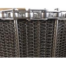 Bande transporteuse d'armure de treillis métallique en spirale plate à chaîne