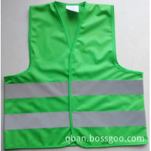 Green children reflective safety vest
