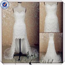 JJ3623 Laço sexy curto frente vestido de noiva de longa volta com trens longos