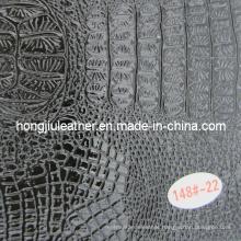 New Design Glossy Black Crocodile Grain Leather for Decorative