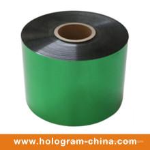 Aluminium-Manipulations-Beweis, der grüne Folie prägt