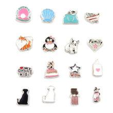 Jóias de moda design mini liga Locket encantos flutuantes