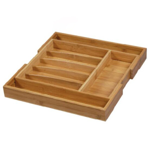Expandable Bamboo Drawer Organizer with 8 Compartments