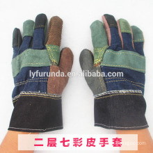 cheap mixed color cow split leather working gloves with patch palm