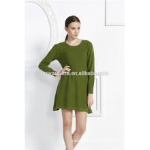 vestido de suéter de manga larga de las nuevas mujeres de la moda