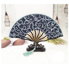 fácil de usar ventilador de mão manual de bambu dobrável personalizado