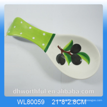 Creative olive figurine ceramic spoon holder