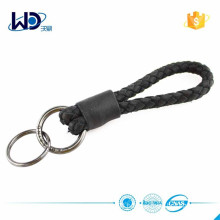 2015 Double Rings Black Braided Leather Key Chain