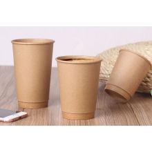 Copos de papel descartáveis do café de Kraft do dobro da Comestível-Qualidade com tampas
