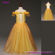 2017 vestidos de las muchachas amarillas de la flor para las bodas Scoop Backless con los appliques y Bowtulle el vestido de bola de los niños vestidos de la comunión