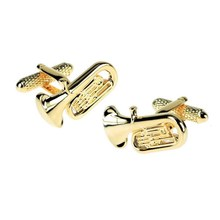 Stylish Enamel Tuba Musical Novelty Cufflinks
