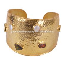 Natürliche Ammolith & Mabe beschichtete Perle mit 925 Sterling Silber vergoldeten Armreif Weddign tragen Schmuck