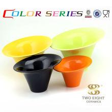 Keramikgeschirr Gelbe große Fruchtsalat Mini Suppenschüssel mit Ständer