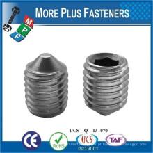 Fabricado em Taiwan DIN 914 - Parafusos de ponto de cone - Parafusos de soquete PARAFUSO DE CONJUNTO DE CONJUNTO DE HEXAGONTO CONE POINT