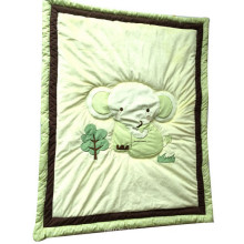 Baby Quilt with Elephant Applique in Green Color for Unisex