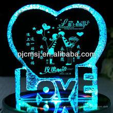 2015 iceberg de vente chaude de cristal avec la lumière de LED, pièce maîtresse de mariage de cristal ou cadeaux en forme de coeur