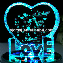 2015 iceberg de cristal da venda quente com luz do diodo emissor de luz, peça central do cristal do casamento ou forma do coração dos presentes