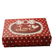 Christmas style fancy paper gift box with silk ribbon