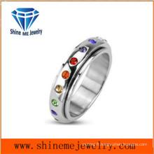 Bague à bijoux Bague en acier inoxydable avec zircon coloré