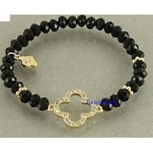 Естественный Оникс бисер браслет Серебряный Шарм (BRG0059)