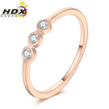 Acessórios de Moda Aço Inoxidável Jóias Anel Diamante Rosa Anel de Ouro (jdx1136)