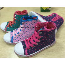 Latest Design Children Casual MID-Cut Injection Shoes Canvas Shoes FF727-1