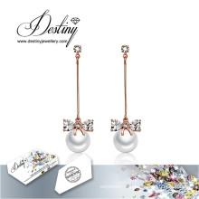 Destin bijoux cristaux de Swarovski boucles d'oreilles longues boucles d'oreilles perles