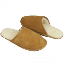 men warm winter home suede sheepskin slippers