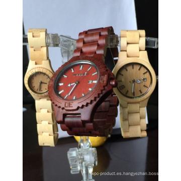 Reloj de madera de bambú genuino natural hecho a mano