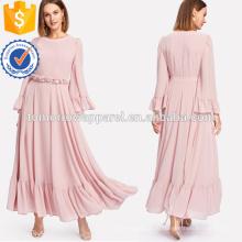 Рябить манжеты и Подол Струящееся платье Производство Оптовая продажа женской одежды (TA3232D)