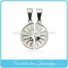 Popular alto polimento de aço inoxidável pingente de jóias pingentes de casal feminino masculino símbolo pingentes de nidificação sol forma pingentes