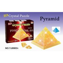 Prety regalo rompecabezas 3D rompecabezas de pirámide de cristal de bricolaje con la luz