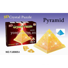 Prety gift 3D puzzle DIY crystal pyramid puzzle with light