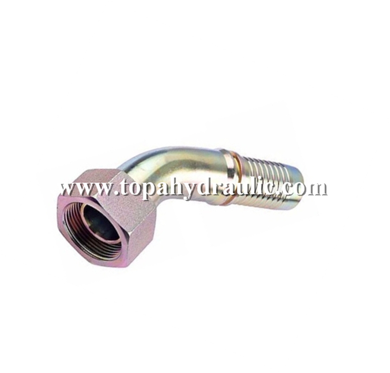Rubber crimpless parker hose bulkhead hydraulic fitting