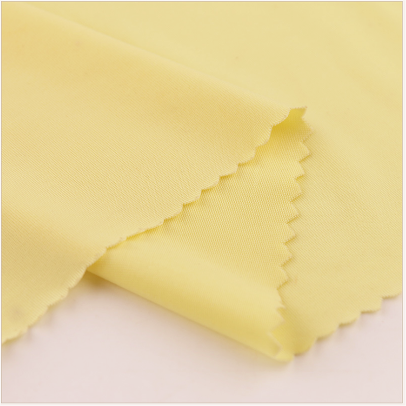 Breathable Yellow Ice Silk Polyester Knitted Garment Fabrics 3