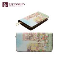 Carteira longa do cartão do zíper da bolsa das senhoras da impressão original relativa à promoção de HEC