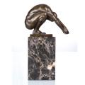 Mâle Nude Déco Nu Joueur Art Artisanat Bronze Statue TPE-719