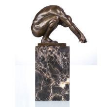 Naked Male Deco Nude Jogador Art Craft Bronze Estátua TPE-719