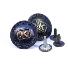 Manufacturer Custom Engrave 3D Name Logo Antique Copper Insert Metal Brass Denim Coat Jeans Rivet Buttons