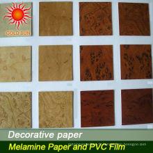 papier laminé décoratif de grain de bois de vente chaude pour le plancher
