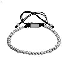 Moda feito à mão feito à mão tecer elástico de aço inoxidável bead bracelet