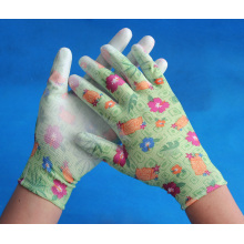 colorful nylon PU working gloves for garden work