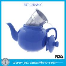 Bule de cerâmica azul redondo com filtro de chá inoxidável